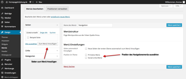 Wordpress Navigationsmenü verändern