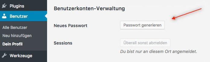 WordPress Passwort ändern