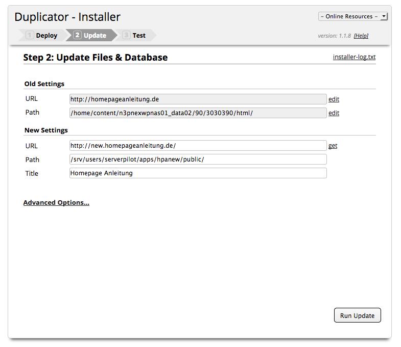 Wordpress umziehen - Backup Installation Schritt 2