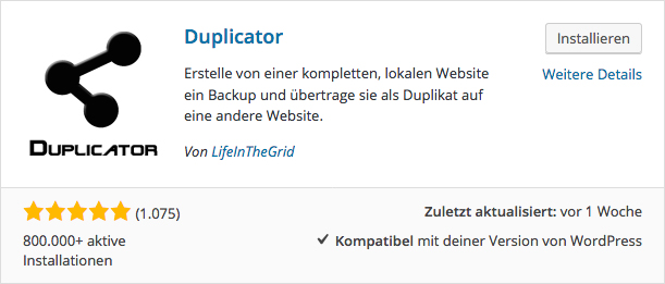 Wordpress umziehen - Duplicator installieren