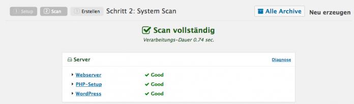 Wordpress umziehen - System Scan