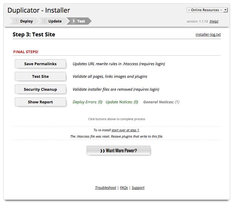 Wordpress umziehen - Backup Installation abschliessen