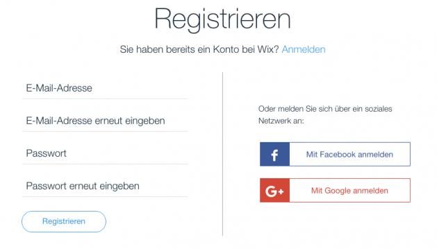 Anmeldung bei Wix.com