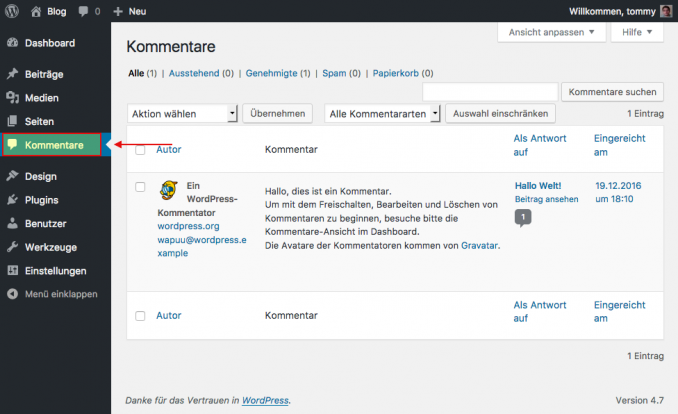 WordPress Kommentare