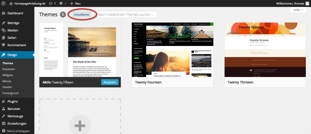 Kostenlose WordPress Themes im WP Dashboard suchen
