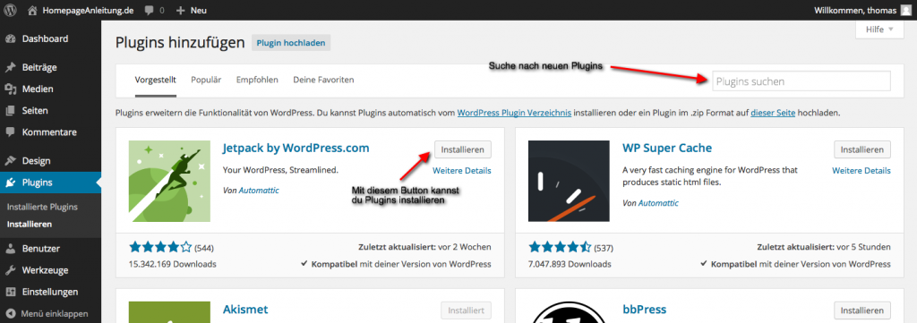 Wordpress Plugins installieren