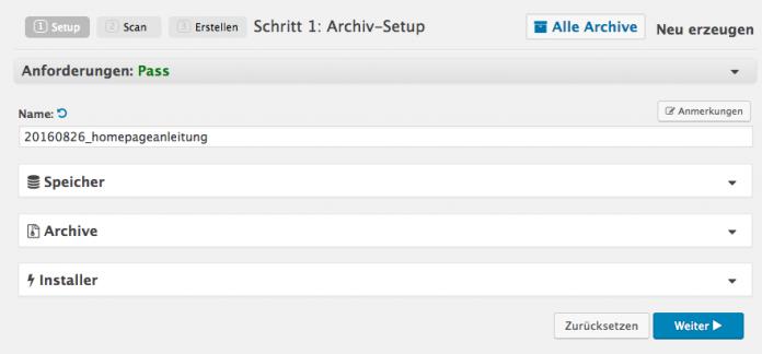 Wordpress umziehen - Archiv Setup