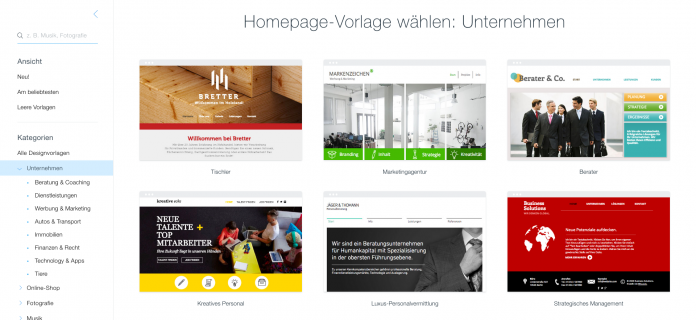 Wix.com Website Vorlagen