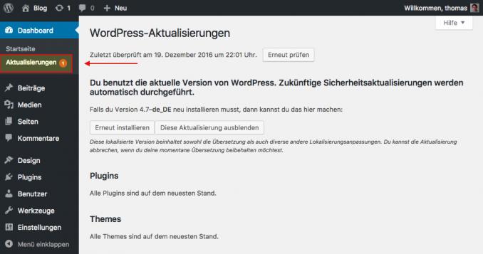 Wordpress Aktualisierungen