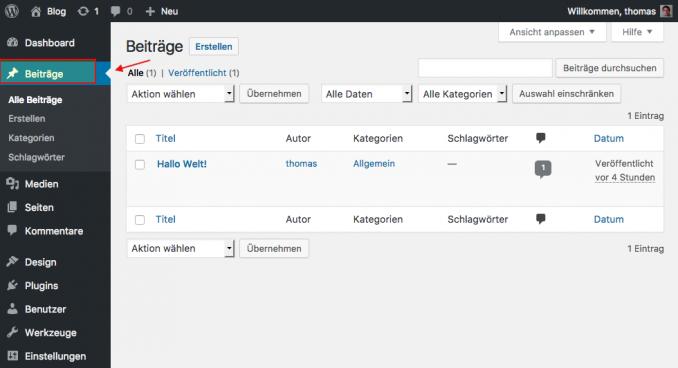 WordPress Beiträge