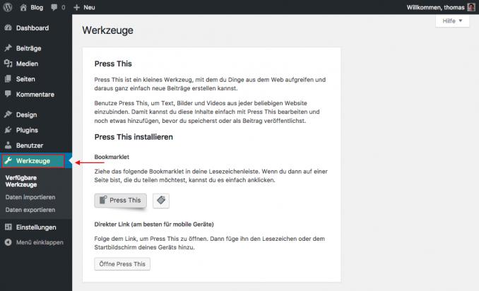 WordPress Werkzeuge