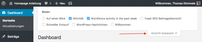 WordPress Dashboard anpassen