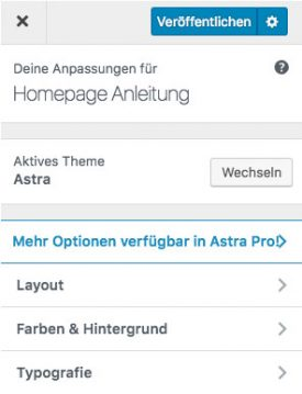 Das Customizer Tool von WordPress