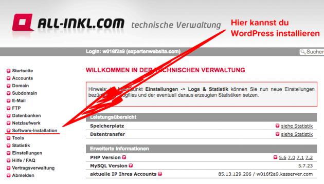 Bei All-Inkl wird WordPress automatisch installiert