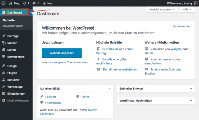 Das WordPress Dashboard