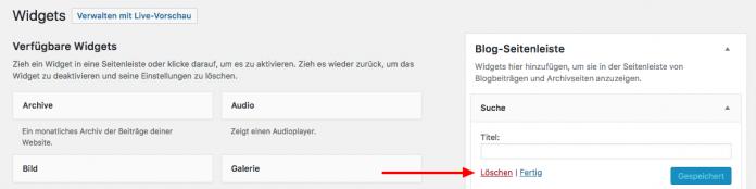 Die Widget Funktion von WordPress